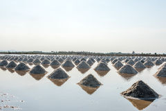Salt of piles saline in Thailand Stock Photos