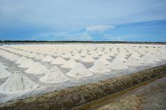 Salt piles in salt farm, Thailand. Royalty Free Stock Photos