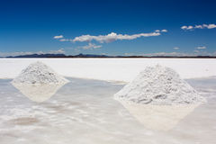 Salt Piles in Uyuni Royalty Free Stock Photo