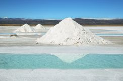 Salt piles and water pool on Salinas Grandes Royalty Free Stock Photography