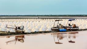 Salt plockning för salt avdunstningdamm, hav i smäll-Taboon, Phetchaburi, Thailand Arkivbilder