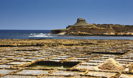Salt pond in Malta Royalty Free Stock Image