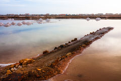 Salt pond, salt gathering in Africa Royalty Free Stock Photography