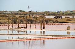 Salt ponds in Gruissan, France. Royalty Free Stock Images