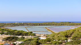 The salt ponds of Ibiza. Royalty Free Stock Photos