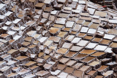 Salt ponds of Maras, Peru. Salt ponds in Maras Peru covering a hillside with rich minerals and a economy boost for the country and people royalty free stock photo