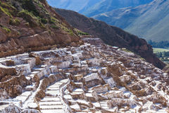Salt ponds of Maras, Peru. Salt ponds in Maras Peru covering a hillside with rich minerals and a economy boost for the country and people Stock Images