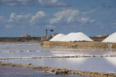 Salt ponds near Trapani in Sicily. Salt at the salt ponds near Trapani in Sicily Royalty Free Stock Images