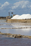 Salt ponds near Trapani in Sicily Stock Images