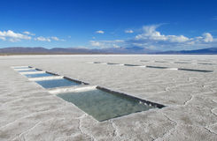Salt pools on Salar Uyuni salt lake, salt production Royalty Free Stock Photos