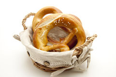 Salt pretzel in the basket Stock Images