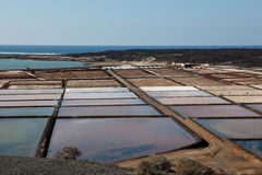 Salt Production. On the Canary Islands, Lanzarote Royalty Free Stock Photography