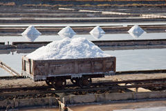 Salt production in evaporating ponds Stock Photos