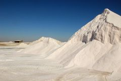 Salt production at a factory from the Atlantic Ocean on the coast near Walvis Bay, Namibia. Mountains of salt royalty free stock photography