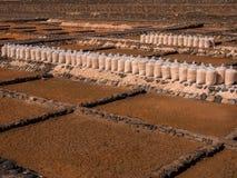 Salt Production in Fuerteventura, Canary Islands Royalty Free Stock Photos