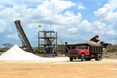 Salt production on Guajara peninsula. In Colombia stock image