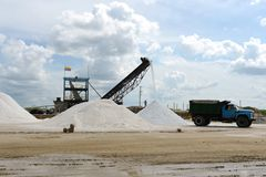 Salt production on Guajira peninsula. In Colombia royalty free stock images