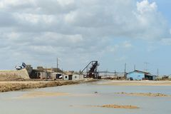 Salt production on Guajira peninsula. In Colombia royalty free stock image