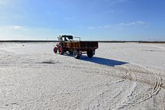 Salt Production in India. The Great Rann of Kutch, is a seasonal salt marsh located in the Thar Desert at the Kutch District of Gujarat, India and the Sindh royalty free stock image