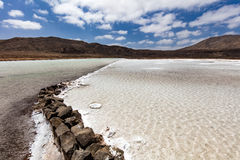 Salt production. Ponds on a bright day Royalty Free Stock Photos