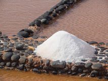 Salt production at Salinas del Carmen, Fuerteventura Royalty Free Stock Photos