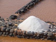 Salt production at Salinas del Carmen, Fuerteventura Royalty Free Stock Photos