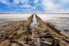 Salt production on Sivash lake Stock Image