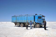 Salt production on the Uyuni salt flats, dried up salt lake in Altiplano. Stock Photography