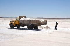 Salt produktion på Uyuni de salta lägenheterna Royaltyfri Foto