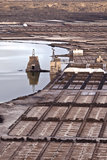 Salt refinery, Salinas de Janubio, Lanzarote Royalty Free Stock Photos