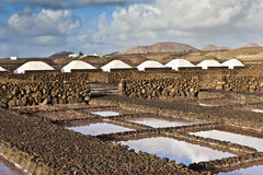 Salt refinery, Saline from Janubio, Lanzarote Royalty Free Stock Images