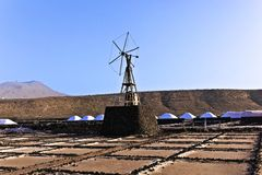 Salt refinery, Saline from Janubio, Lanzarote Royalty Free Stock Photography