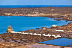 Salt refinery, Saline from Janubio, Lanzarote Stock Photography