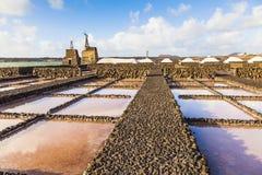 Salt refinery, Saline from Janubio, Lanzarote, Spain Stock Images