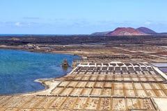 Salt refinery, Saline from Janubio, Lanzarote Royalty Free Stock Images