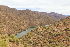 Salt River at Apache trail scenic drive, Arizona. Panorama of Apache trail scenic drive in the early summer morning mist. View to Salt River, which is visible on royalty free stock photography