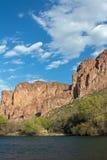 Salt River Arizona. Salt River outside Mesa with jagged desert mountains Stock Images