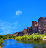 Salt River Arizona Moon Royalty Free Stock Images