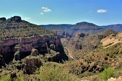 Salt River Canyon, within the White Mountain Apache Indian Reservation, Arizona, United States. Scenic landscape view of the Salt River Canyon within the White stock images