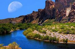 Salt River Moon Royalty Free Stock Photography