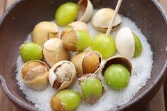 Salt roasted ginkgo nuts, japanese food Royalty Free Stock Photos