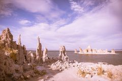 A salt rock formed island in Mono Lake. This picture shows a salt rock formed island in Mono Lake California stock photos