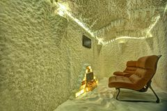 Salt room. Interior of the salt room with chairs Stock Photo