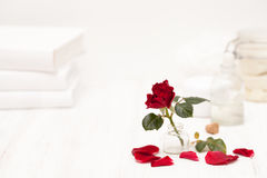 Salt, rose water from rose petals with your hands on a white woo Stock Photos