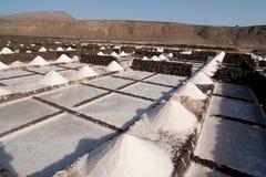 Salt in the salinas of Janubio in Lanzarote Stock Photo