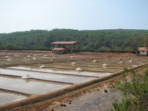 Salt salt extraction food industry India. Baths with salt salt extraction food industry India, Karnataka, Gokarna, March, 2017 stock photography