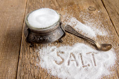 Salt and salt shaker Royalty Free Stock Photos