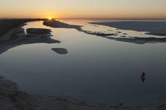 Salt See auf Sonnenaufgang Lizenzfreie Stockfotos