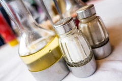 Salt shaker and cruet  Royalty Free Stock Photo