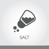 Salt shaker seasoning icon in flat design. Pictogram for food cooking theme. Simple emblem of spice. Vector illustration Royalty Free Stock Photo